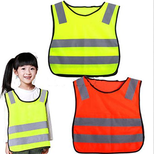 AngelicaAP High Visibility Kids Safety Vest, Children Waistcoat Vest Grey Reflective Strips Traffic Clothes, Yellow green