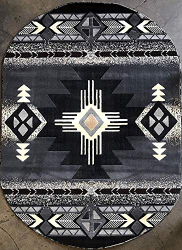 Concord Global Trading Southwest Native American Oval Area Rug Grey Black Brown Beige Gray Design C318 (5 Feet 2 Inch X 7 Feet)