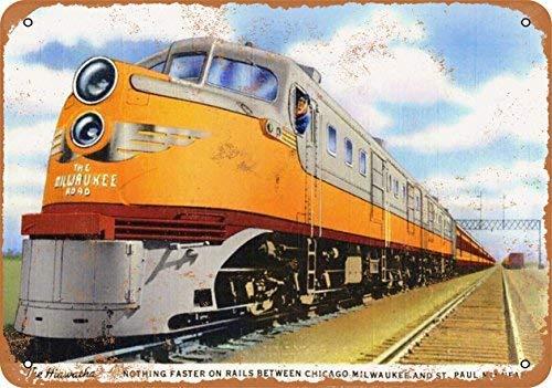 NNBD Vintage Look Metal Sign - 1948 Milwaukee Road Hiawatha Train Wall Plaque Sign 8X12 Inch