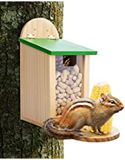 Wehhbtye Squirrel Feeder for Hanging Outside,Handcrafted Chipmunk Picnic Table Feeder Bench Feeders,Pine Wood House with Screws for Squirrel Feeding Station Garden Yard(Assembly Hardware Included)