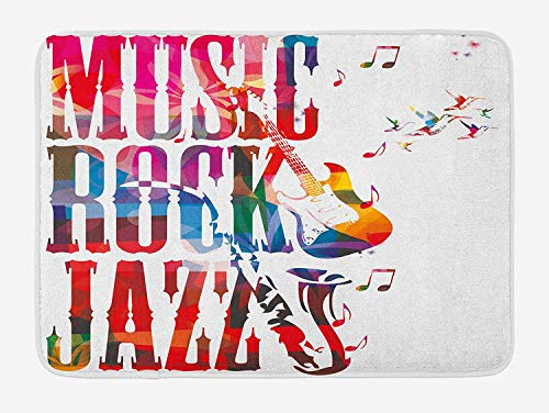 TAQATS Musical Bath Mat, Music Rock Jazz Lettering with Bass Guitar Saxophone Notes Harmony Illustration, Plush Bathroom Decor Mat with Non Slip Backing, 23.6 W X 15.7 W Inches, Multicolor]()