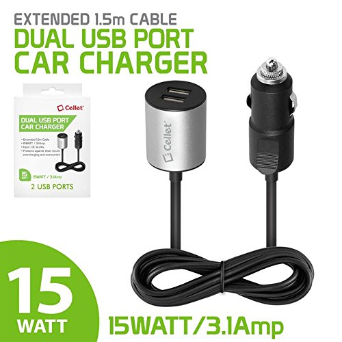 Cell Accessories For Less (TM) Cellet 3.1A Dual USB Port Car Charger with Extended 5ft Cable Cable for Alcatel One Touch IDOL 3 5.5 Bundle (Stylus & Micro Cleaning Cloth) - By TheTargetBuys