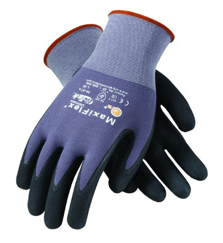 ATG 34-874/XXL MaxiFlex Ultimate Seamless Knit Gloves with Micro-Foam Nitrile Dotted Palm, Gray/Black, XX-Large, 15-Gauge, -