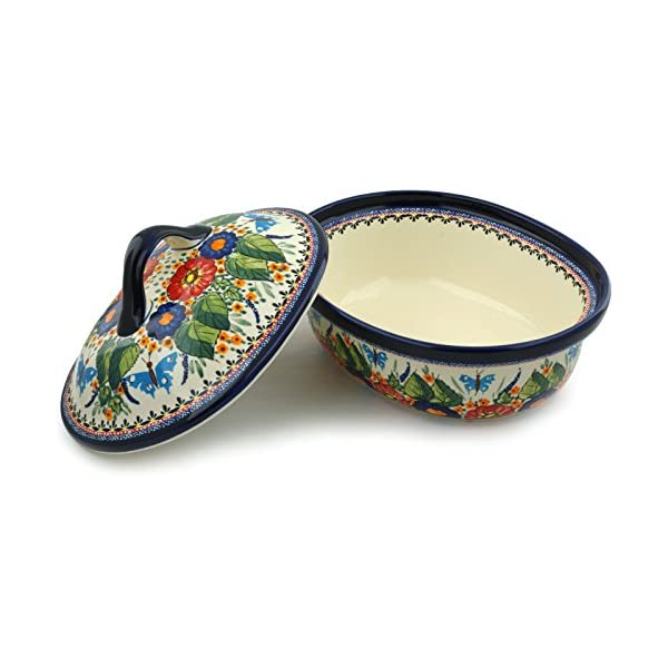 Blue Rose Polish Pottery Floral Butterfly Roaster with Lid