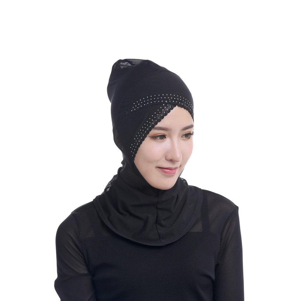 Zhengpin Muslim Womens Under Scarf Hat Cap Bonnet Hijab Islamic Lace Neck Cover