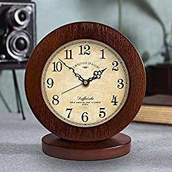 WJXBoos Wooden Silent Table Clock, 8 inch Retro Creative Decorative Desk Clock Wood Frame No Ticking Sound Aa Powered Bedside Clock-Wood 8 inch (18 cm)