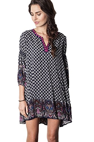 mixed print dress - 9