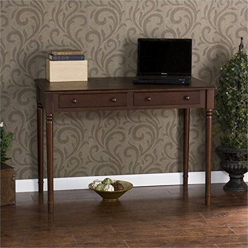 Espresso Finish Wood Side Chairs - Janice 2 Drawer Writing Desk - Slim Profile Design - Expresso Finish