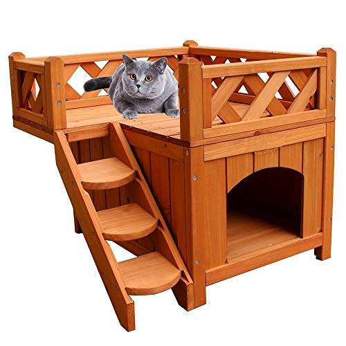 2-Story Wooden Cat House Cat Shelter with Stairs and Balcony Indoor/Outdoor 20.08 L x 20.08 W x 17.99 H inches