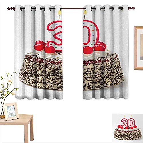 - Superlucky 30th Birthday Blackout Draperies for Bedroom Birthday Cake with Cherries on The Top and Burning Candles Number 30 Print 55