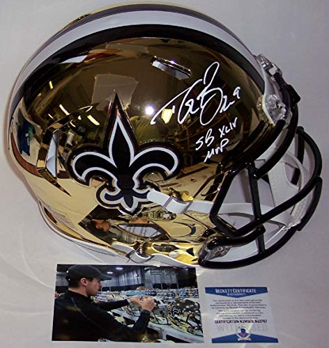 Drew Brees Autographed Hand Signed Riddell New Orleans Saints Chrome Speed Full Size Authentic Pro Football Helmet - with SB XLIV MVP inscription - BAS Beckett Authentication