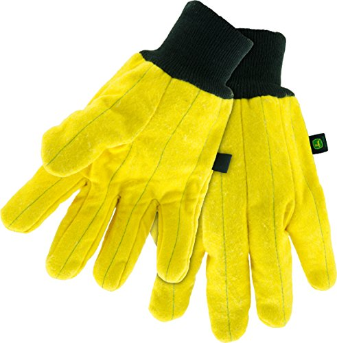 West Chester John Deere JD61800 Heavy Duty Chore Work Gloves with Soft Cotton Lining: Yellow, X-Large, 1 Pair