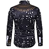 Clearance!Mens Spot Casual Slim Print African Pullover Long Sleeved Shirt Top Blouse