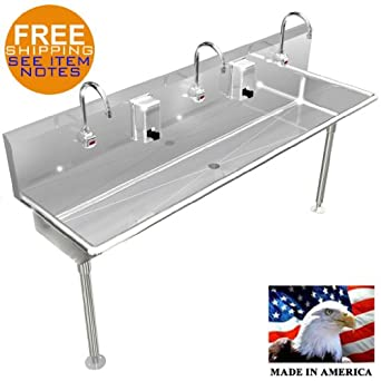 3 MULTI STATION 72u0026quot; WASH UP HAND SINK ELECTR. FAUCET HANDS FREE STAINLESS  STEEL