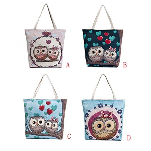 2018 Casua EUzeo Mujer verano bolso print de para bolsos Bolsos de Lona fiesta A mensajero Bolsos baratos Owl totes mujer Hombro mujer Bolsa playa para Bolso tqzgARw7g