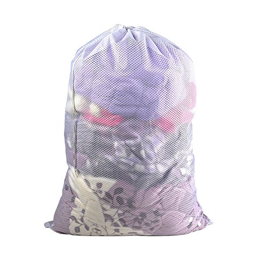 Mesh Laundry Bag-24x 36, Heavy Duty Drawstring Bag, White Large Laundry Liner Double Mesh Material, Ideal Machine Washable Storage Bags for College, Apartment Dweller (24x 36)