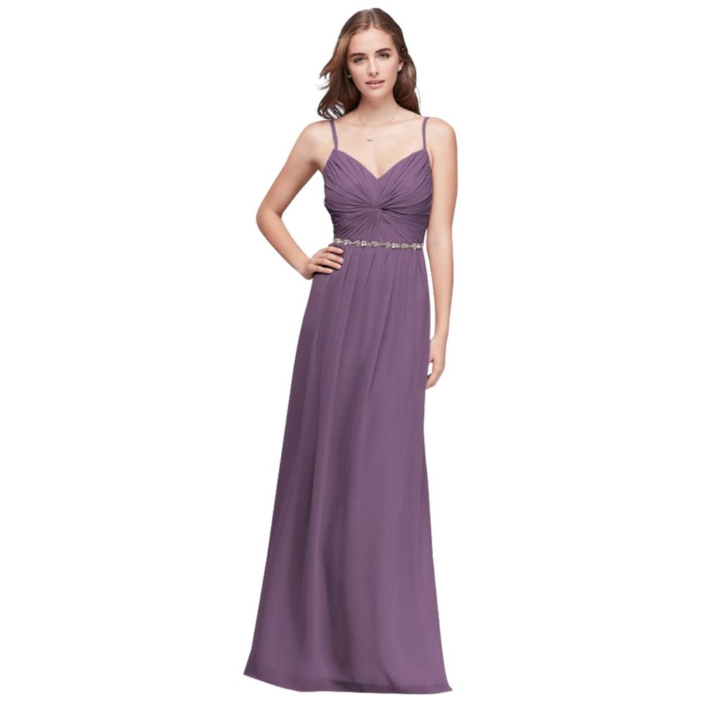 David's Bridal Twist Bodice Chiffon Bridesmaid Dress with Beaded Belt Style W11147, Wisteria. by David's Bridal