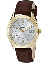 Timex Mens TW2P766009J City Collection Gold-Tone Stainless Steel Watch with Brown Genuine Leather Band