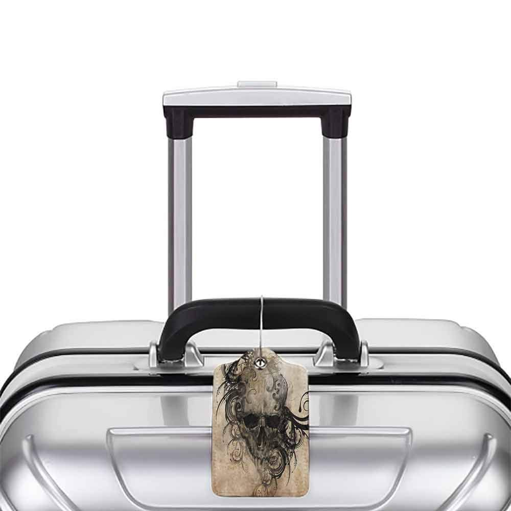 Modern luggage tag Tattoo Decor Revenge Fierce Faced Skull Triplets with Romantic Detail of Rose Image Suitable for children and adults Black and White W2.7 x L4.6
