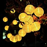 AveyLum Solar Lantern Warm White Outdoor String Lights 20 LEDs 16.4ft Waterproof Garden Fairy Lights for Yard Patio Path Christmas Halloween Wedding Lighting Decoration