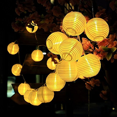 AveyLum Solar Lantern Warm White Outdoor String Lights 20 LEDs 16.4ft Waterproof Garden Fairy Lights for Yard Patio Path Christmas Halloween Wedding Lighting -
