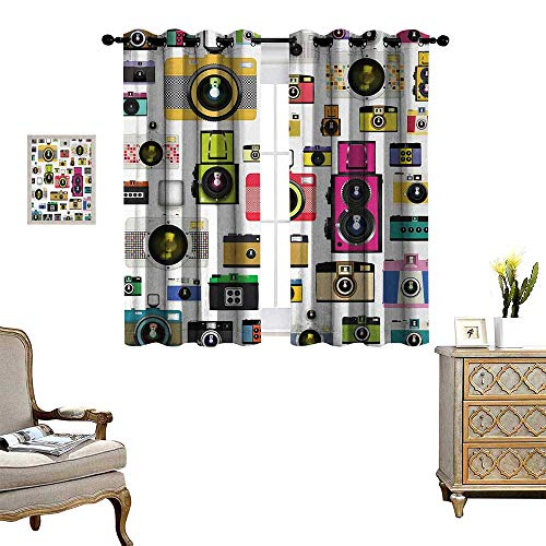 (Anyangeight Vintage Patterned Drape for Glass Door Vintage Old Fashioned Photo Cameras Artful Hobby Studio Graphic Decorative Design Waterproof Window Curtain W63 x L45 Multicolor)