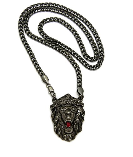 (Fashion 21 Roaring Lion Head Pendant 24