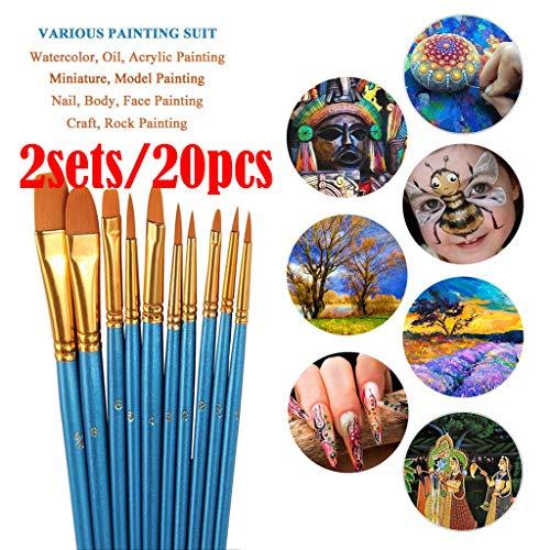 Little Story  Acrylic Brush, Acrylic Paint Brush Set 2Packs/20 Pcs Nylon Hair Brushes for All Purpose Oil Wat