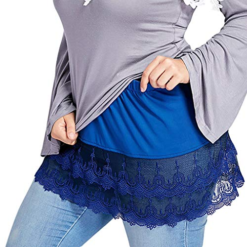Teresamoon Women's Layered Tiered Sheer Lace Trim Extender Half Slips Plus Size Skirt (Most Wished & Gift Ideas) Blue]()