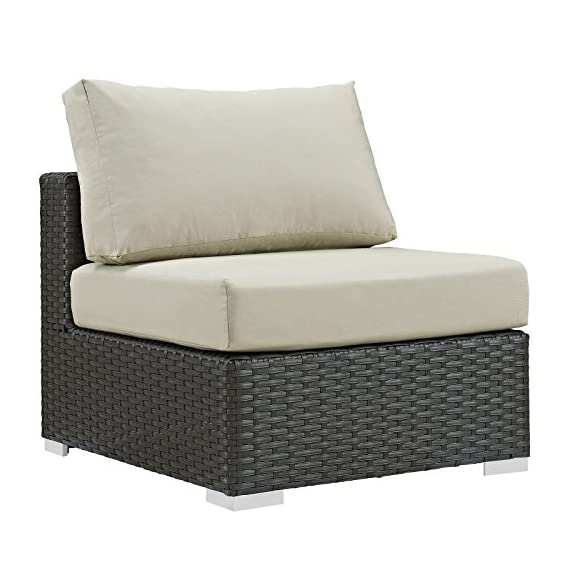 Modway EEI-1854-CHC-BEI Sojourn Wicker Rattan Outdoor Patio Coffee Table, Armless Chair, Canvas Antique Beige - PATIO REFRESH - Update your backyard or porch with an inviting outdoor sofa chair. Effortlessly accommodate the needs of your outdoor space with furniture that's great for both entertaining and relaxing WEATHER-RESISTANT - Featuring a powder-coated aluminum frame, this outdoor patio armless chair comes with a chocolate brown synthetic rattan weave, with UV protection for years of outdoor use CONTEMPORARY MODERN STYLE - Clean lines and a sleek profile lend modern style to this outdoor armless seat. The Sojourn Collection is a stylish, functional addition to a deck, poolside, or porch - patio-furniture, patio-chairs, patio - 51p6PuQ9XvL. SS570  -