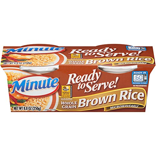 Minute Ready To Serve Whole Grain Brown Rice, 2/4.4-Ounce Cups (Pack of 8) by Minute