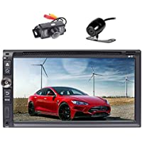 Front & Backup Camera included! EinCar Android 6.0 Quad Core Car Stereo Radio Receiver with GPS Navigation Double Din 6.95 Touch Screen Car DVD CD Player Support AM/FM Autoradio/Bluetooth/Mirror-lin