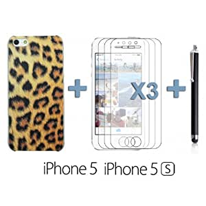 OnlineBestDigital - Carving Design Patterns Plastic Case for Apple iPhone 5S / Apple iPhone 5 - Style M with 3 Screen Protectors and Stylus