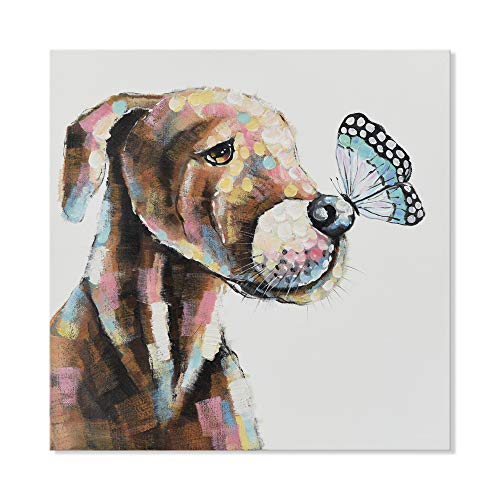 SEVEN WALL ARTS - Modern Hand Painted Animal Painting Cute Pet Pit Bulls Dog with Butterfly with Stretched Frame Gift for Father's Day 24 x 24 Inch