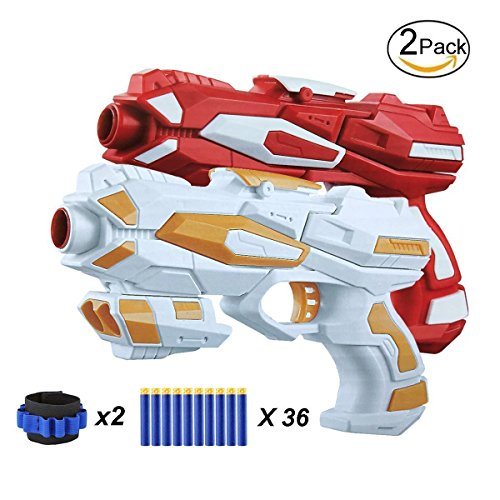 EXSPORT 2 Pack Blaster Guns with Dart Wristers Kit and 36 PCS Soft EVA Bomb for Kids Hand Gun Toy Blaster Gun Dart Gun