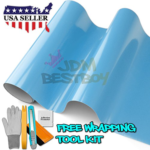 Free Tool Kit Premium Gloss Baby Blue Car Vinyl Wrap Sticker Decal Sheet Film Bubble Free Air Release Self Adhesive - 60