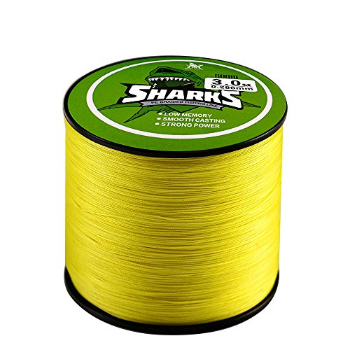 Handing Abrasion Resistance Fishing Line Yellow Color 500m/547yd 14-80lb Braided 4 Strands Fishing Line Fishing Tackle