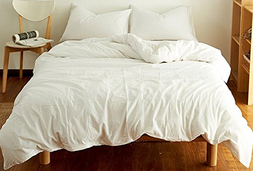 Pure Color Bedding Sets - MeMoreCool 100% Washed Cotton 4 Pieces Reactive Printing YKK Hidden Zipper Multiple Optional Twin by MeMoreCool (Image #2)