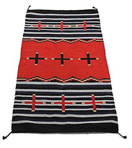 Onyx Arrow Southwest Décor Area Rug, 32 x 64 Inches, Cross Collection Black/Red Stripe - Cotton Indian Rug
