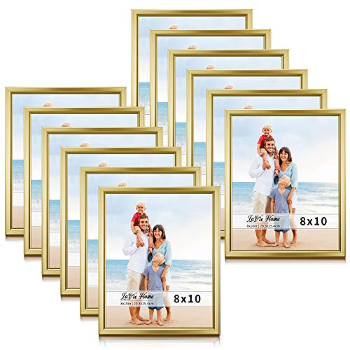LaVie Home 8x10 Picture Frames (12 Pack, Gold) Simple Designed Photo Frame with High Definition Glass for Wall Mount & Table Top Display, Set of 12 Classic ()