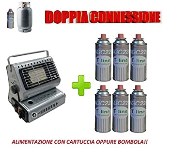 Estufa a gas portátil, de doble conexión (cartuchos de gas o bombona de gas) + 6 cartuchos de regalo: Amazon.es: Jardín