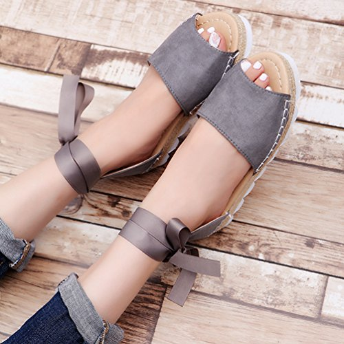 Alto Verano Plataforma de Sandalias Gris Sandalias Tacón Zapatos para Mujer Toe Peep Strappy Correas Plano ZKOOO 0qwaOC