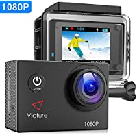 【Upgraded】Victure Action Camera 1080P Full HD 12MP 30m...