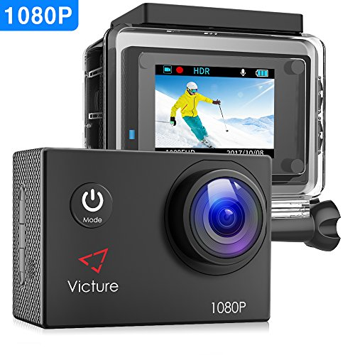 【Upgraded】Victure Action Camera 1080P Full HD 12MP 30m Underwater Waterproof Camera 170° Wide-angle Sports Cam with HDR Technology and 26 Mounting Accessories