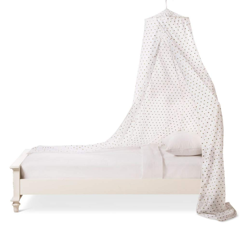 Pillowfort Metallic Hearts Bed Canopy - White with Gold Hearts