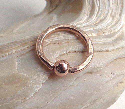 Septum Closure - BCR Rose Gold Ball Closure Ring Hammered Septum,Upper Ear Daith Rook,Tragus,Cartilage,Helix,Hoop Earring,Nose Ring,Eyebrow Piercing