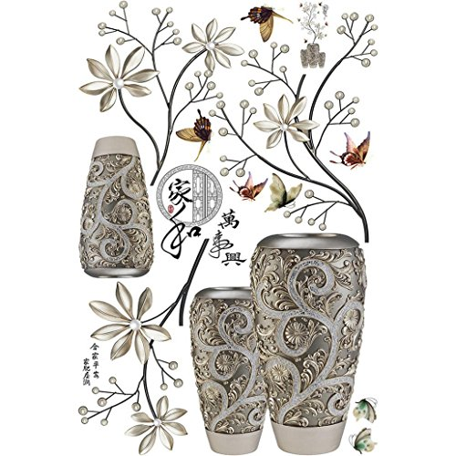 Potato001 Modern Chinese Letter Exotic Flower Vase Butterfly Wall Sticker Decal Home Decor -