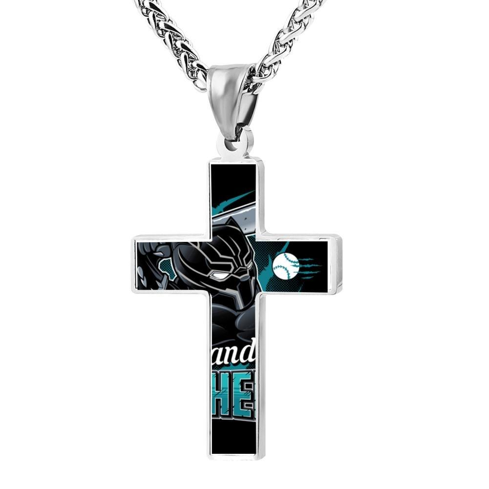 Kenlove87 Patriotic Cross Wakanda Panthers Religious Lord'S Zinc Jewelry Pendant Necklace