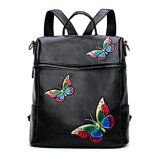 Butterfly Embroidered Design Backpack Black PU Leather Schoolbag Mini Travel Backpack (A) Black Embroidered Leather Backpack