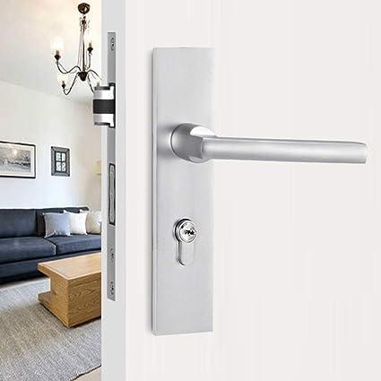 . Modern Door Handle Lock Front Back Lever Lock Bedroom Door Handles